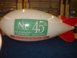 14 feet long white color polyurethane blimp with business logo for advertising purposes
