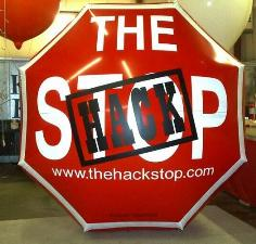 advertising balloon in shape of a stop sign